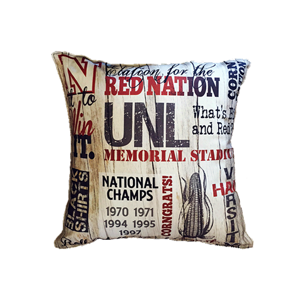 husker collage pillow big o art