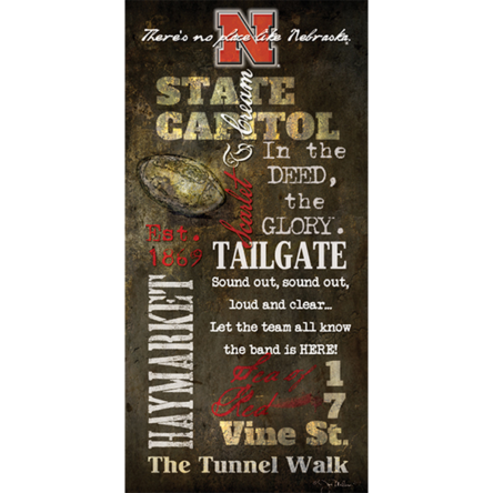"""Husker Tailgate"" Canvas 18inx36in"