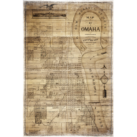 """Antique Omaha Wood Map"" Canvas"