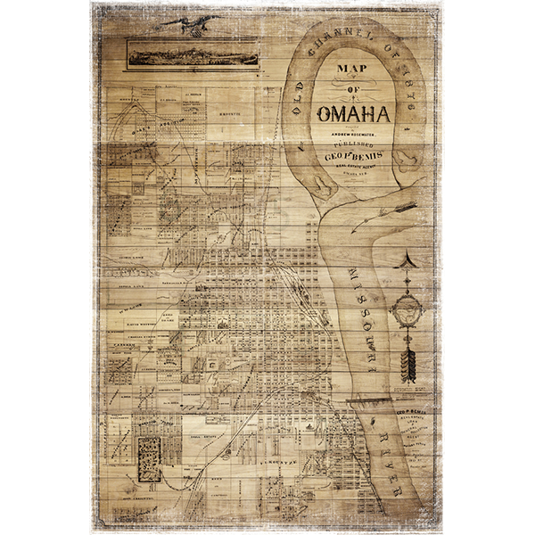 Antique Omaha Wood Map