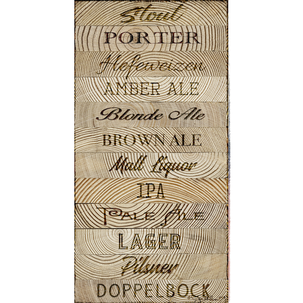 crafted beer wood canvas big o art