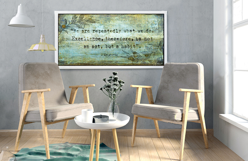 Excellence Inspirational Quote Room Art