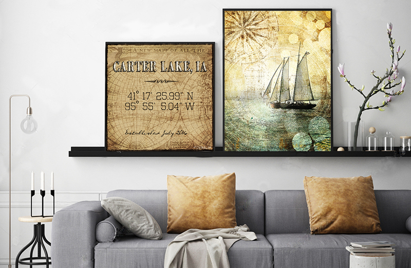 Carter Lake Iowa Sailboat Room Art