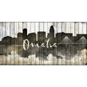 Omaha Skyline Wood Canvas Nebraska Art