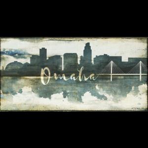 Omaha Skyline Watercolor Canvas Nebraska Art