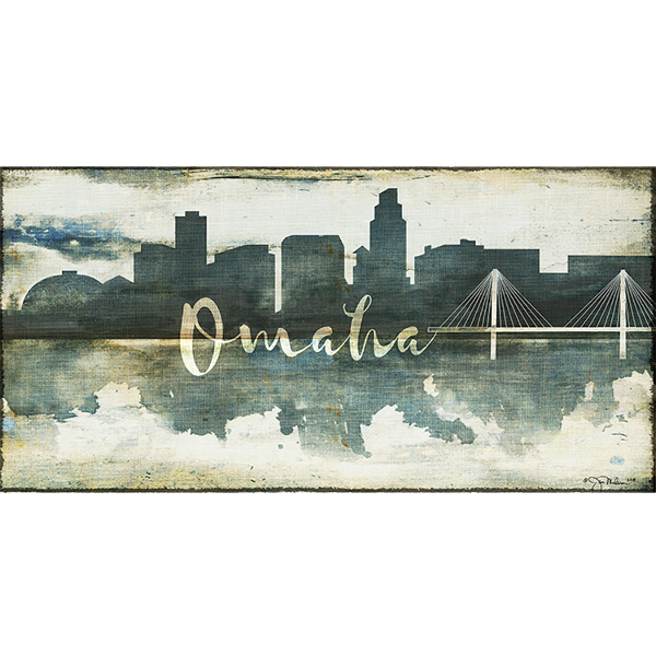 Omaha Skyline Watercolor Canvas Nebraska Art