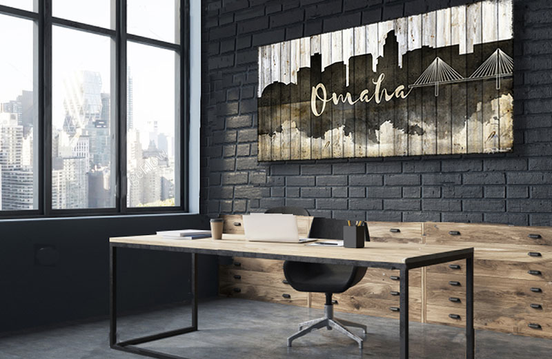 Omaha Nebraska Skyline Office Art