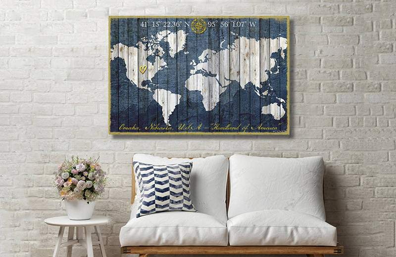 World Map Room Art
