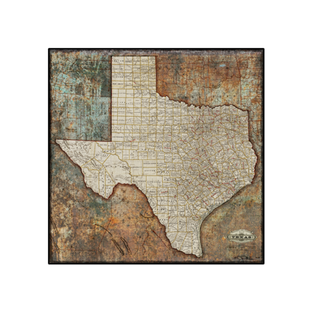Texas State Railroad Map Canvas
