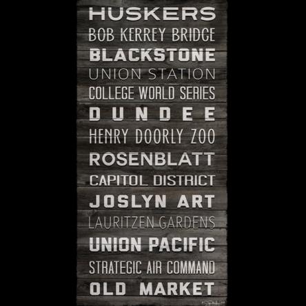 Omaha Landmarks Word Canvas (Dark Wood)