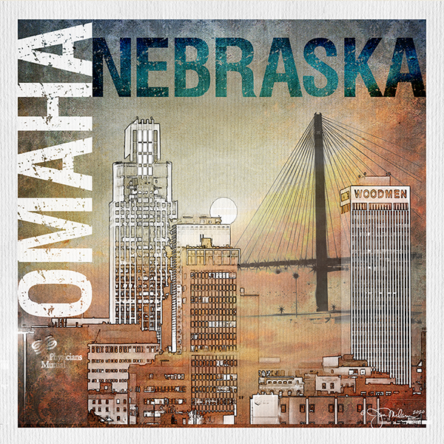 Omaha Mod Collage 1 Canvas Print