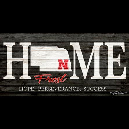 Nebraska Home Frost Football Canvas